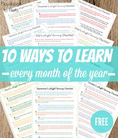 Free printables. 10 ways to teach preschoolers every month of the year. Easy ways for families to incorporate learning into their child's day.