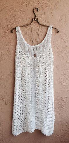 White cotton crochet summer dress for beach boho