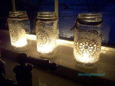 Mod Podge mason jars with doilies for a gorgeous glow.