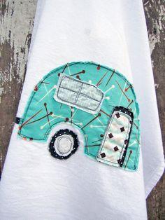 Camper Tea Towel caravan, appliqued towel, campers, tea towels, cotton tea, concept design, teas, camper tea, craft idea