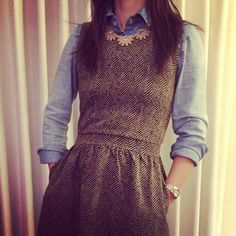 <3 teaching outfits, statement necklaces, sleeveless dress, button, j crew, denim shirts, winter layers, teacher outfits, winter dresses