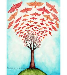 """Birds of a Feather by Laura McCabe. 13""""x19"""". Etsy $40  #Art #crafts #Reproduction #Illustration #bird #flock #flying #tree #autumn #fall #sky #red  #whimsical #Laura_McCabe #etsy #poster"""