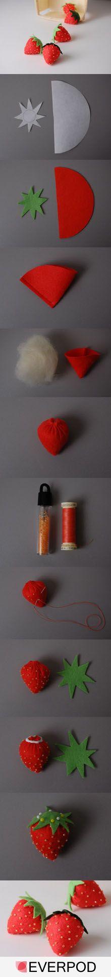 cute little DIY felt strawberries