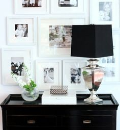 Grouping of black and white photos to go on Cobalt Blue wall in sitting area behind chaise lounge. Great place to feature family photos and will break up the bold Cobalt blue paint.