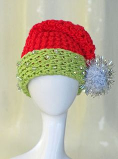 Santa Beaded Crochet Hat for 1/6 Scale Dolls  Red by OneSixthSense, $10.50