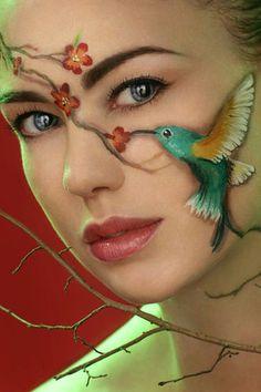 animal faces, face paintings, the face, body paintings, makeup, hummingbird, a tattoo, bodi paint, face art