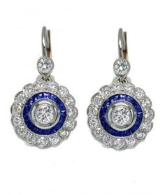 Platinum,  Diamond & Sapphire Earrings
