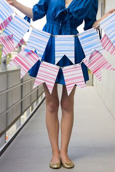 DIY Watercolor Stripe Bunting for July 4th!