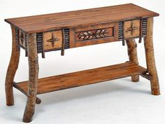 Birch Bark Furniture, Cabin Decorating, Lodge Decor, Handcarved Console Table, Hickory Log Bed