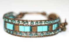 3 Row Turquoise and Gold Tila Beaded Leather Cuff by MindyG, $58.00