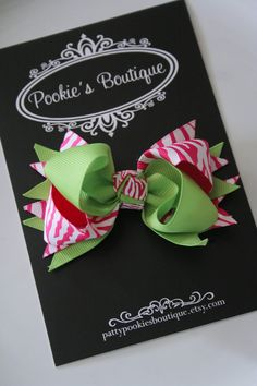 Pookie's Botuique, Lime and Hot Pink Zebra Bow for Infants by PattyPookiesBoutique, $5.00