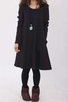 Simple comfortable cotton babydoll long sleeved dress by MaLieb, $69.00