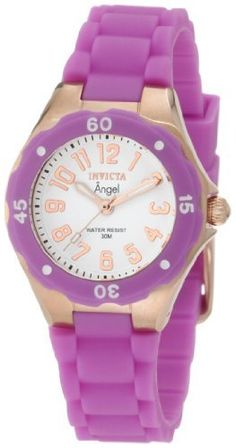 Invicta Women's 1623 Angel White Dial Lavender Silicone Watch Invicta. Save 85 Off!. $50.00. Japanese quartz movement. Rose gold tone second hand. Water-resistant to 30 M (99 feet). Flame-fusion crystal; brushed and polished 18k rose gold ion-plated stainless steel case; lavender silicone strap. White dial with rose gold tone hands and arabic numerals; lavender bezel with white arabic numerals