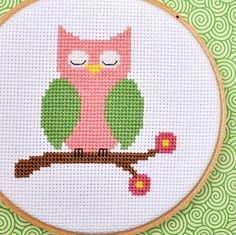 owl cross stitch - hama perler beads pattern