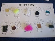 "Love, love, love this ""hands on"" (ha!) activity! ""It Feels""...5 senses activity kids..."