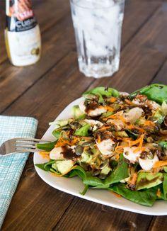 Spinach Chicken Salad w/ Garlic Balsamic Vinaigrette using STAR Grilling (Garlic) Cuisine Cooking Oil #STARCuisineOils
