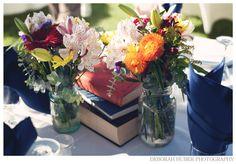 jar vase, book, themed weddings, mason jars