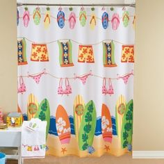 Beach Shower Curtain, for the girls' bathroom. | Inspiration for Cynt…