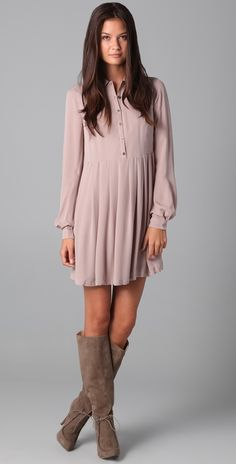 shirt dress with suede boots.