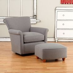 Swivel Glider & Ottoman (Cement)  | Crate and Barrel -- I want the champagne color