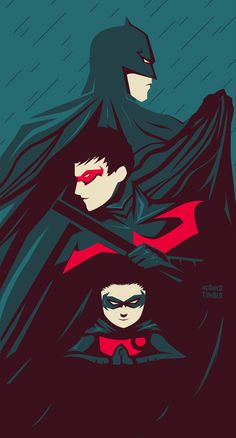 Batman, Nightwing, and Robin.