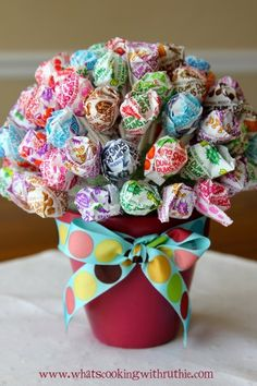 office gift, birthday presents, mothers day, centerpiec, lollipop, topiari, little gifts, hostess gifts, gift idea