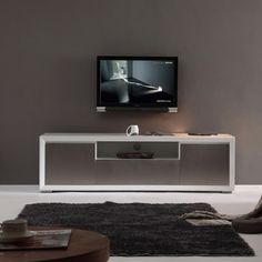Element High-gloss White Stainless Steel TV Stand | Overstock.com