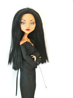 Morticia Addams - Monster High doll repaint