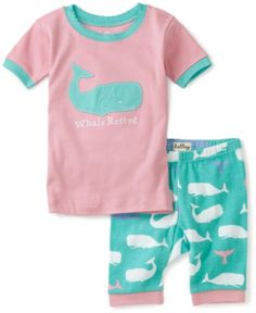 Hatley Girls 2-6X Short Whales 'Whale Rested' Pajama Set