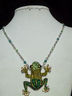 Frog necklace crystal frog necklace by ToadsLilyPondJewelry, $25.00