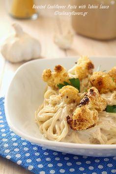 Roasted, Cumin Cauliflower Pasta with Tahini Sauce
