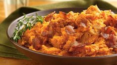 Mashed Sweet Potatoes with Bacon..... mmm bacon (and sweet potatoes too!)