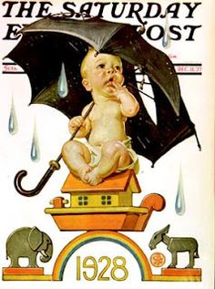 J.C. Leyendecker,  Apprehensive 1928 New Year's baby.