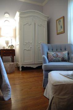 white armoire lavender bedroom