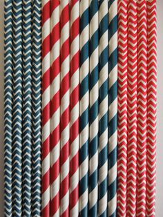 50 NAVY RED Paper Straws Mix Stripes, Chevron Dots DiY Flags- Nautical, Marine, Anchor Wedding Kids Birthday Baby Shower Bachelorette Party $5.99