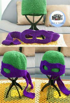 crochet+ninja+turtle+hats+free+patterns | Ninja Turtles Donatello hat crochet