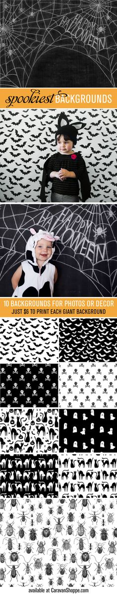 Printable backgrounds for Halloween. Great to take photos of the kids in their costumes! Also works as fun Halloween decor!