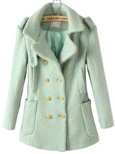 Mint peacoat with gold buttons