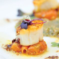 Fig & Olive's small plates include scallops with eggplant caviar.