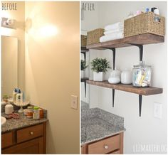 DIY Rustic Wood & Metal Bathroom Shelves - Such a simple & easy way to add beauty & organization to any space! A must pin for sure!
