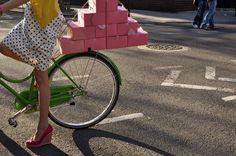green and pink and polka dots