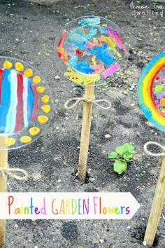 DIY Painted Garden Flowers (garden project for kids) Needed Materials: wooden garden stakes, clear plastic plates, outdoor acrylic paint & paintbrushes, small screws, screwdriver, drill, & twine. Give kids a plate, a paintbrush, & their favorite colors of paint.