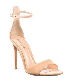 Nude Ankle-Strap Heels at #ShopBAZAAR - Gianvito Rossi Tan Suede Simple Sandal