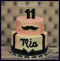 Girly Mustache Cake