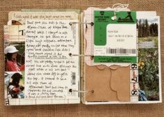 I love how this scrapbook is not a perfectly organized page by page. It is more of a flip book of keepsakes such as tickets, postcards, notes, and pictures.