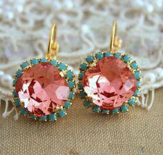 Turquoise peach pink salmon Crystal big hook earring - 14k plated gold post earrings real swarovski rhinestone
