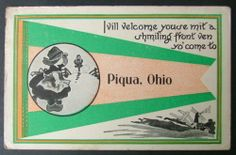Welcome to Piqua Ohio Vintage Postcard