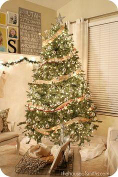 burlap garland, white burlap christmas, decorating blogs, decorating ideas, ornament