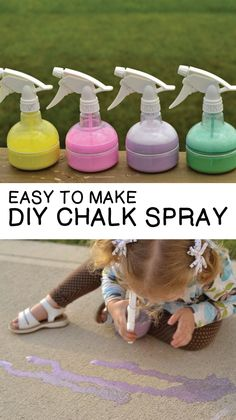 Easy to make DIY CHALK SPRAY!  Just a few ingredients and hours of fun with your kids.