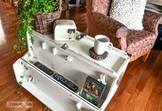A funky tool box side table with hidden junk storage / via http://www.funkyjunkinteriors.net/